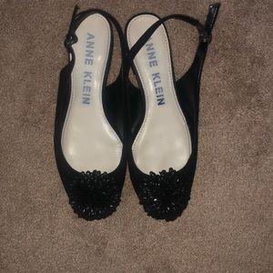 Anne Klein Shoes - Anne Klein sz 8 black suede sling back low heel